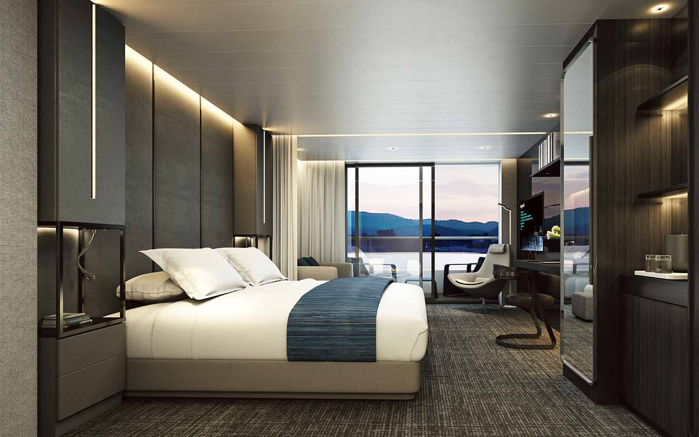 luxury bedroom suite on Scenic Eclipse Arctic expedition cruise with open balcony looking out into the Arctic