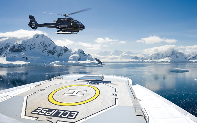 Scenic Eclipse Helicopter deck, Antarctica