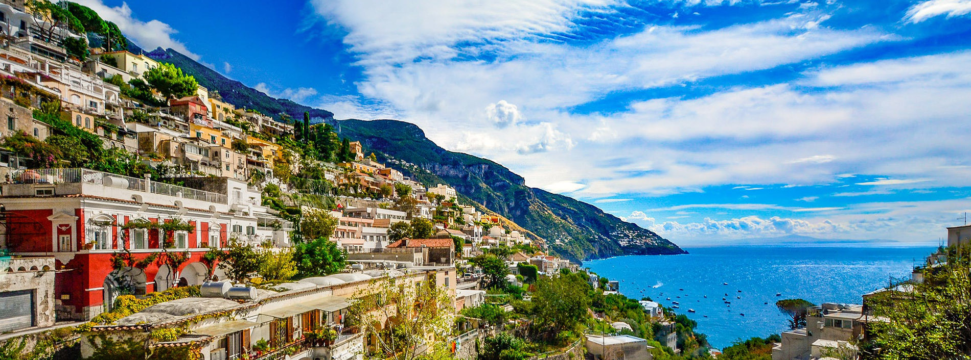 Amalfi Coast seen from a luxury Mediterranean cruise
